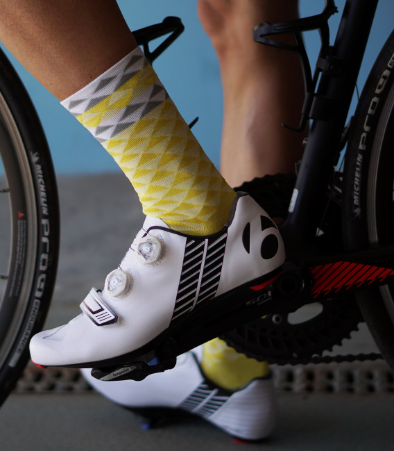 Asymmetric Yellow Cycling Socks