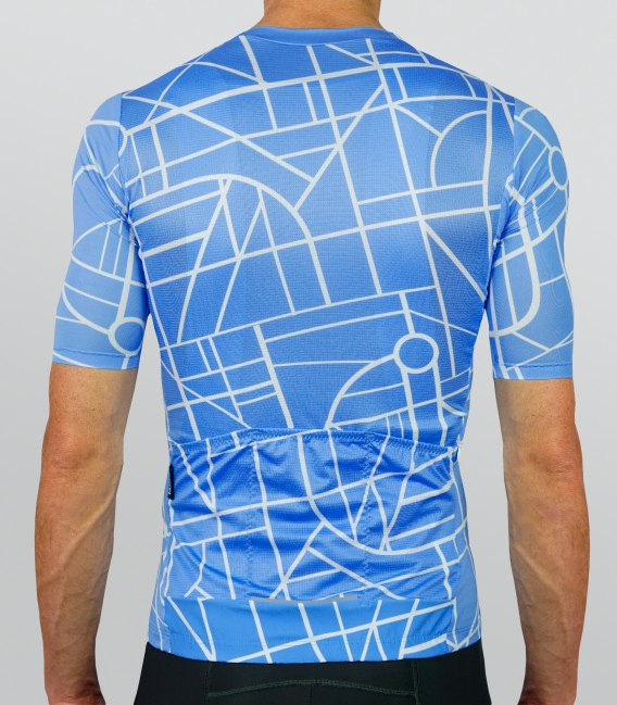 City blue cycling jersey - back