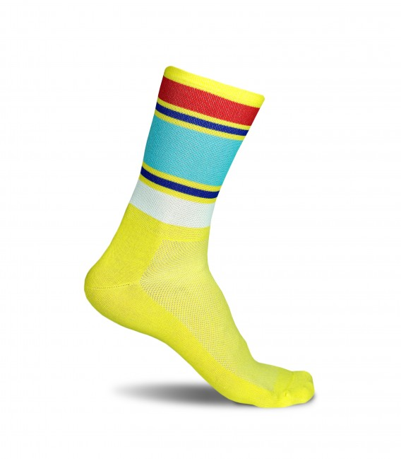 Summer Stripes yellow cycling socks