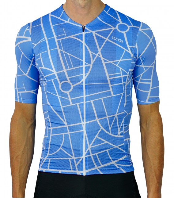 City blue cycling jersey